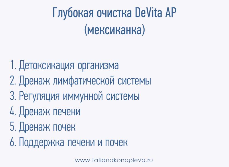 Глубокая очистка DeVita AP. Девита АП программы. Программы DeVita AP